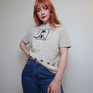 Vintage 90s tan cat embroidered sweater top L